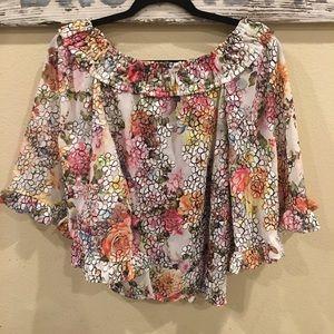 Alberto Makali New York Floral Print Blouse Shirt